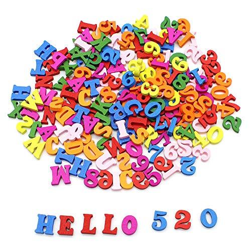 Dylan-EU 200 Piezas Aleatorio Letra Coloridas Mayúscula de Madera & Números de Madera para Manualidades de Bricolaje Decoración del Hogar Decoración de Regalo Educación Preescola 15 mm