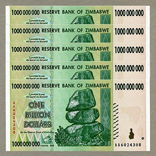 Zimbabwe 1 Billion Dollars x 5 pcs AA 2008 P83 Consecutive UNC Currency Bills