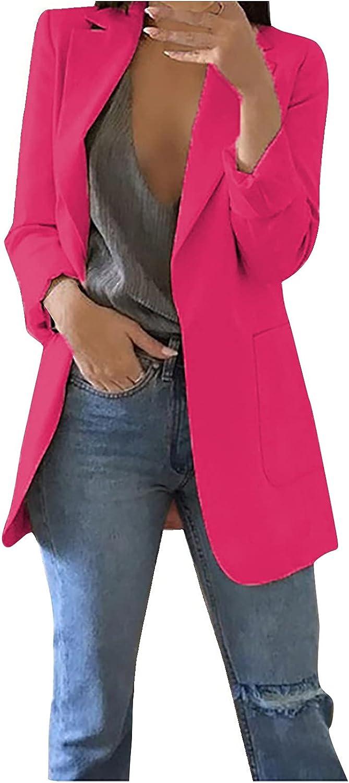Women Open Blazer Front Pocket Sleeve Cardigan Work Office Long Fixed price for sale Louisville-Jefferson County Mall