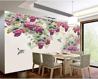TIANXINBZ Custom bedroom living room wall wallpaper Hand painted Harvest purple fragrance grapes goldfish bird 3d wallpape...