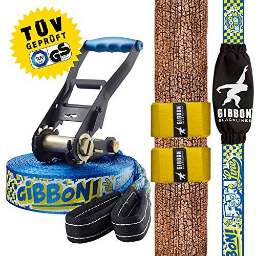 Gibbon Slacklines Fun Line mit Tree Pro, Blau, 15 Meter (12,5m Band + 2,5m Ratschenband) inklusive Ratschenschutz und Ratschenrücksicherung, Breite 2