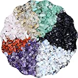 TOCYORIC Cuentas de piedras preciosas de 15 colores, piedras preciosas con agujero, forma natural, piedras curativas naturales, cuentas artesanales, para enhebrar pulseras, collares, joyería, etc.
