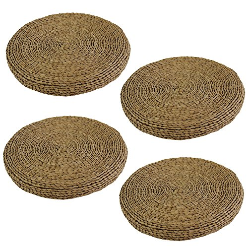 JVL 4x Outdoor Garden Round BBQ Conservatory Chair Cushion Covers Table Place Mat 40x40x3cm