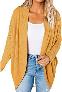 Womens Solid Kimono Batwing Cable Knitted Oversized Wrap Cardigan Sweater