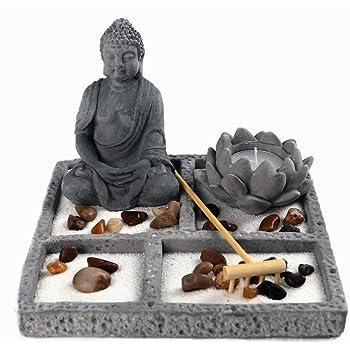 OM HOME Jardin Zen Figura Buda en Bandeja Cuadrada,con portavela en Forma de Flor de Loto, Roca y Arena decoración con Embalaje Mejorado: Amazon.es: Hogar