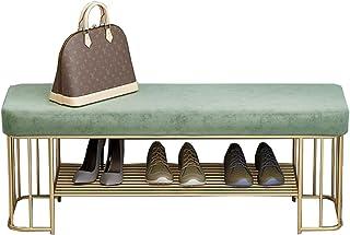 WHOJA Banc Étagère à Chaussures 80 / 100x35x45cm avec Coussin de Velours 1 étagère en métal Peut Organiser 4-6 Paires de C...