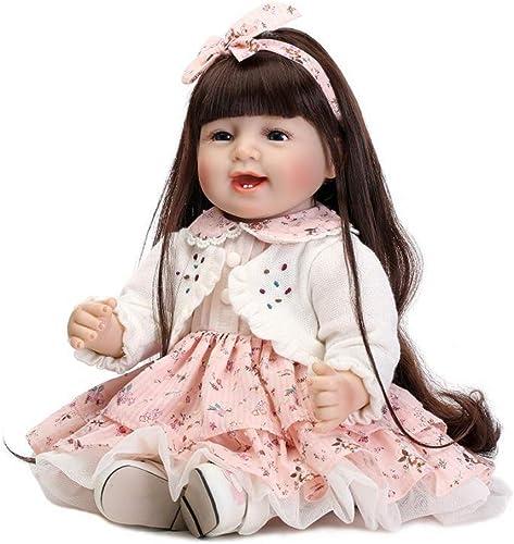 FHSGG Reborn Babypuppen Weiße Silikon Vinyl Lebensechte Spielzeug Junge mädchen Geschenk Realistische Puppen 55cm,Girl,5cm