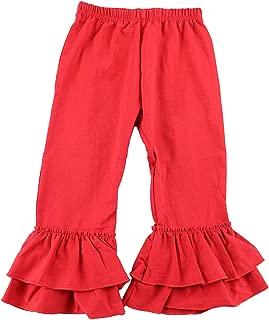 Wennikids Children's Little Girls Ruffle Soft Cotton Flare Pants