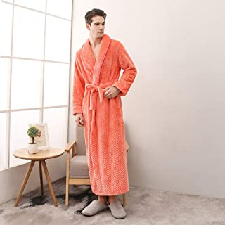 IHCIAIX Nightgown,Autumn Winter Thickened Flannel Couple Nightgown Men And Women Lengthened Plus Size Fixed Belt Bathrobe ...