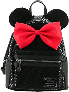 Loungefly Disney Minnie Sequin Mini Backpack Black-Red