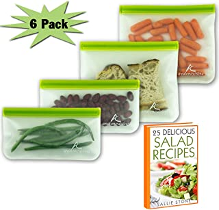 Avaloncuisine Bags 6pcs Seal Extra Thick Eco Friendly Reusable Storage Bags Ideal for Food Storage, Snacks or Veggies, Lunch Sandwiches, Stationery, UP-Leak Bag for Travel or Make Up and more ...