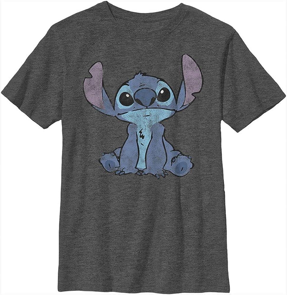 Disney Lilo & Stitch Simply Stitch Boy's Heather Crew Tee