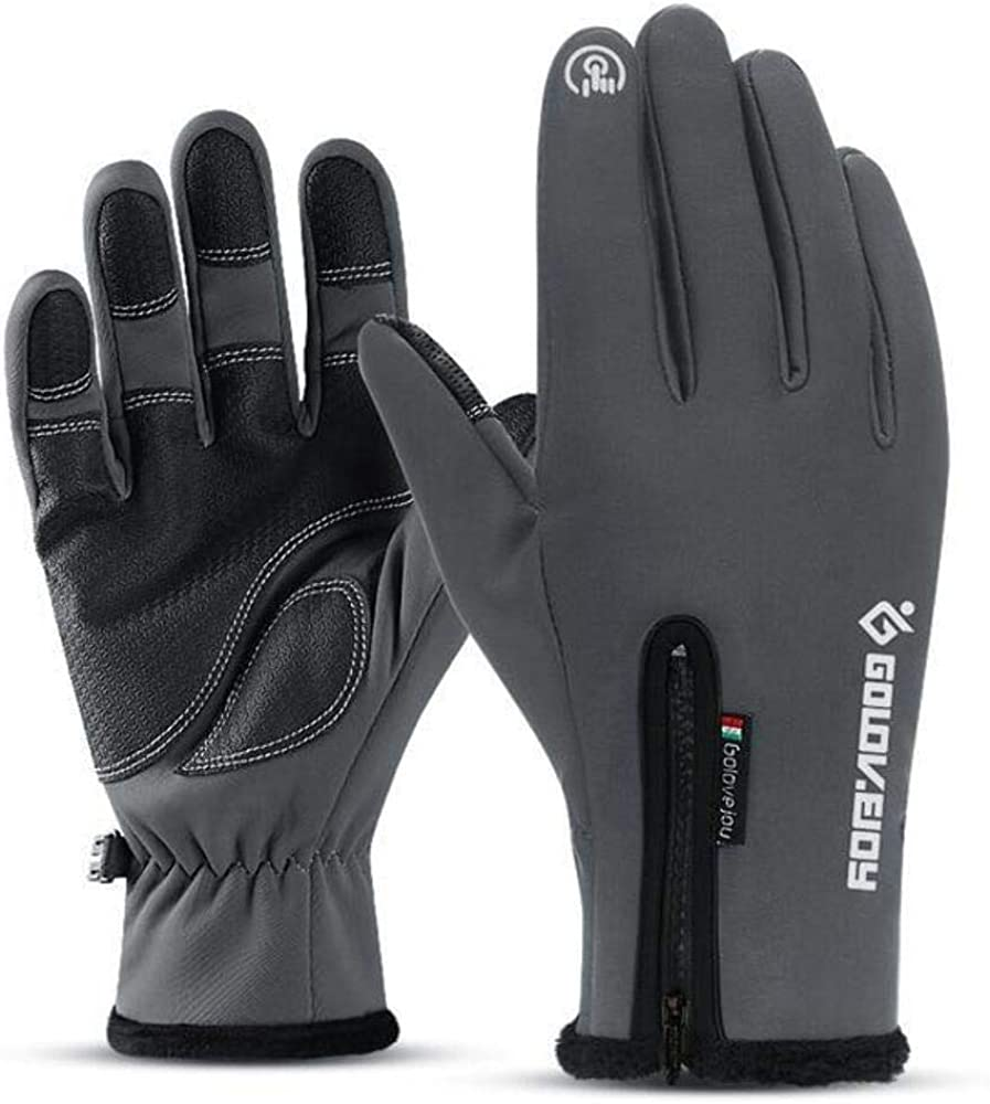 Cold-proof Unisex Waterproof Winter Gloves Cycling Fluff Warm Gloves Dark Gray Gloves L Refer Size Chart