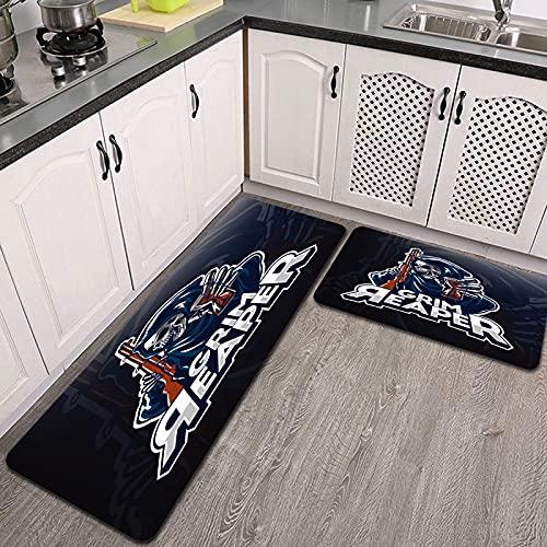 2 Piezas Alfombrillas de Cocina,Vector, diseño, Parca, tenencia, Reloj de Arena Antideslizante Alfombra para Puerta de Baño Juego de alfombras Cocina Lavables