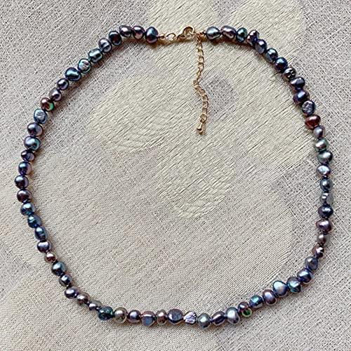 SONGK 4-5mm pequeñas Pepitas Irregulares Joyas de Perlas barrocas Collar Corto Gargantilla de Perlas de Agua Dulce Naturales Realespara Mujeres