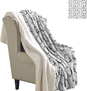 Josepsh Funny Blanket Small Quilt 60x32 Inch Funny Sheep Patterns on Meadow with Flower Comic Doodle Playroom Kids Art Print Sherpa Throws Balck White