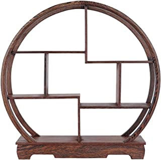 Wall Shelf, Home Carving Crafts Rack Antique Display Rack Chinese Teapot Display Stand Crafts Antique Ornaments Flower Pot Rack Desk Decoration(Round)