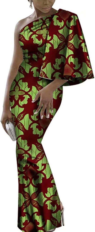 BintaRealWax Womens African One Shoulder Maxi Dress One Side Cape Sleeve Ankara Mermaid Gown