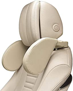 Xflyee Car Headrest Adjustable Safe Car Seat Pillow for Head and Neck Support Travel Sleeping Cushion for Kids Adults Beige