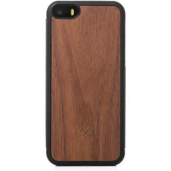 Woodcessories - Hülle kompatibel mit iPhone 5 / 5s / SE (2016) aus Holz - EcoBump Case (Walnuss)