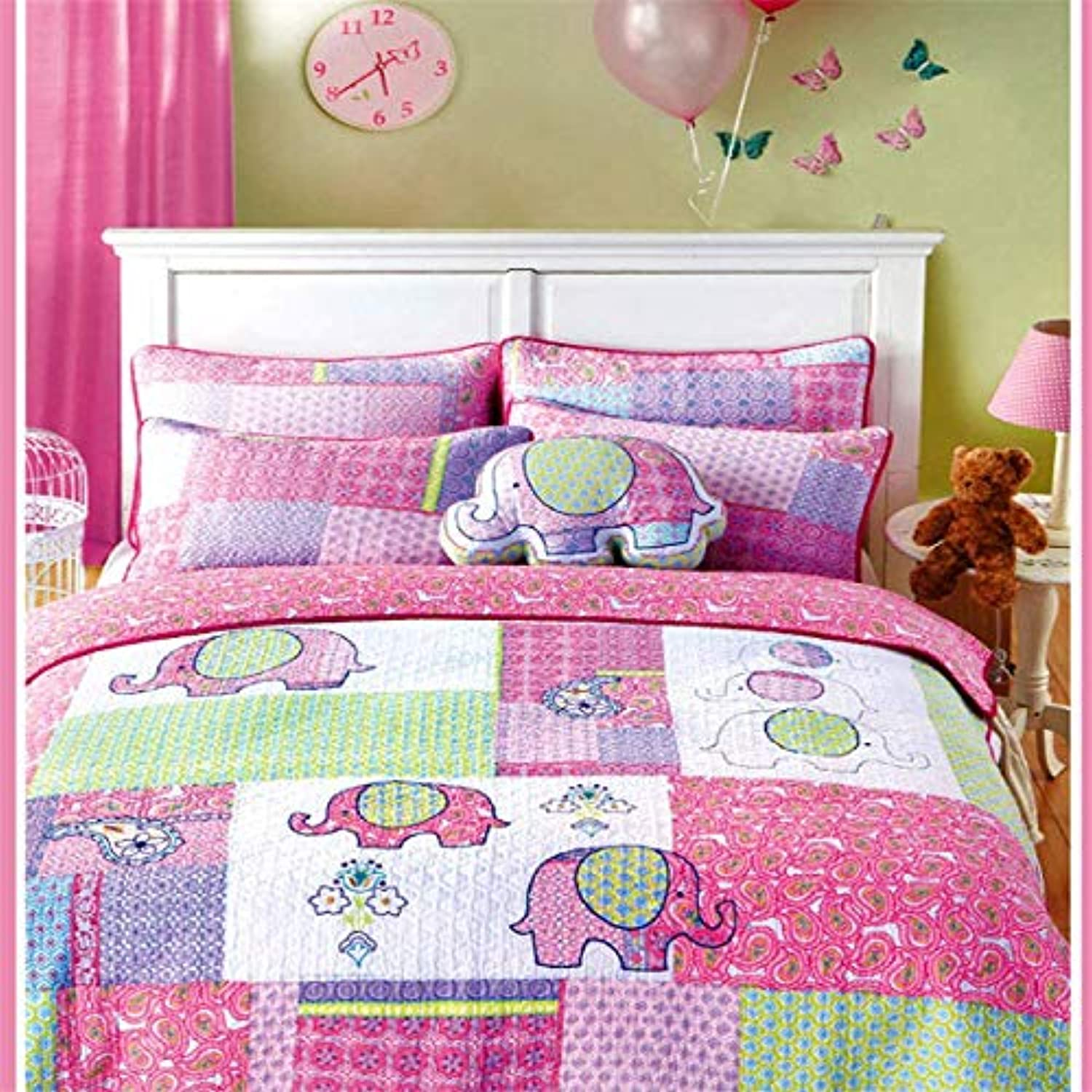 Auvoau 100% Cotton Girls Kids Quilt Bedspread Set Queen Size 3 Pieces Elephant Pattern Patchwork Fabric Girls Kids Comforter Bedding Sets