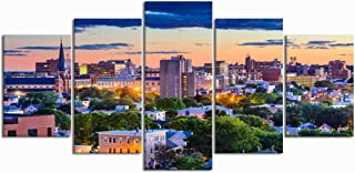 PENGTU Paintings Modern Canvas Painting Wall Art Pictures 5 Pieces, Portland Maine USA Downtown Skyline,Wall Decor HD Printed Posters Frame