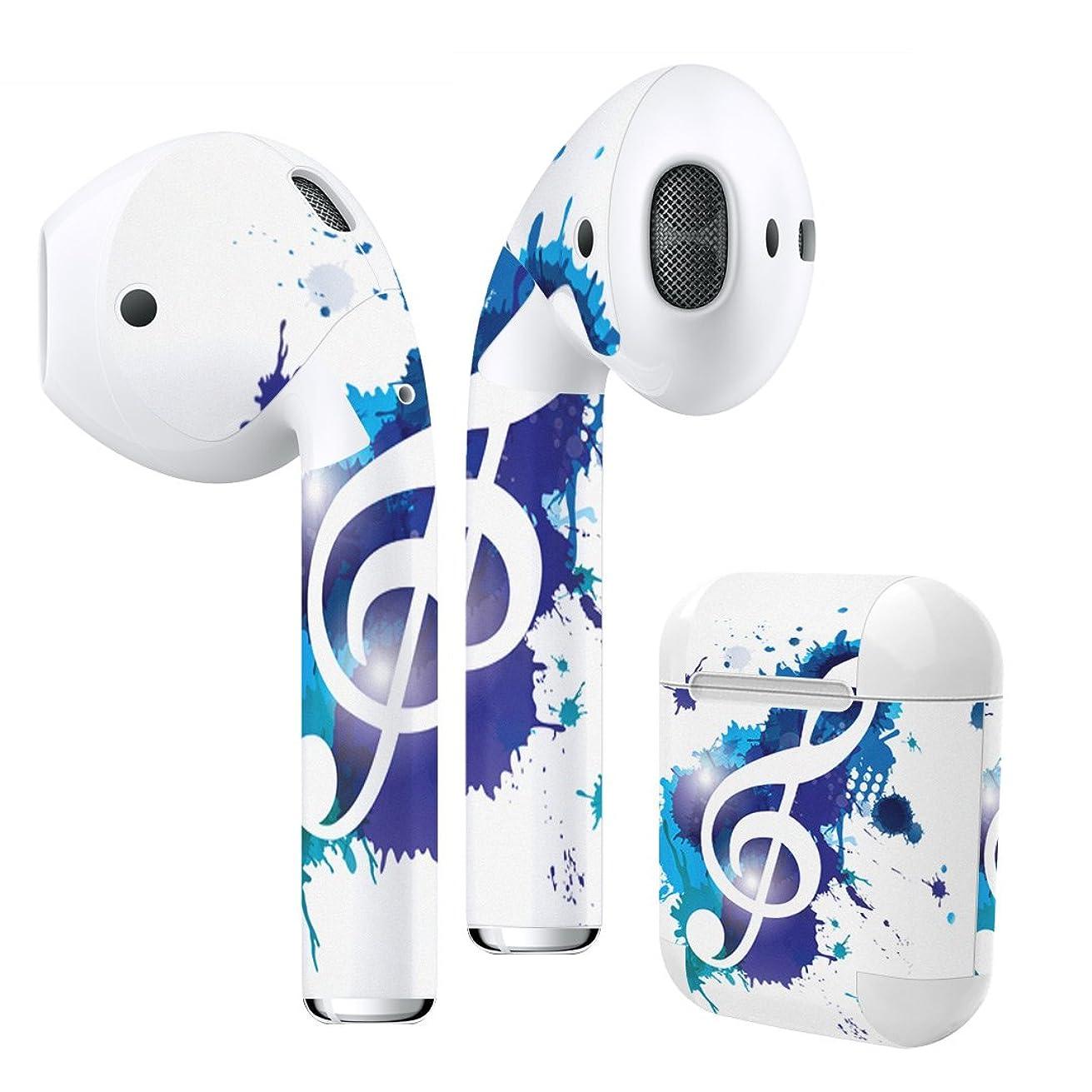 ポンプ投げるトロピカルigsticker Air Pods 専用 デザインスキンシール airpods エアポッド apple アップル AirPods 第一世代(2016)airpods2 第二世代(2019)対応 イヤホン カバー デコレーション アクセサリー デコシール 003301 ラブリー ユニーク 音楽 音符 青