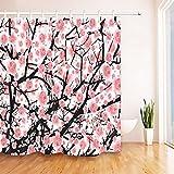 P.CHUXIN Dekorative Blumen Duschvorhang Pfirsichblüte Nature Series mit lebendigen Farben, 002
