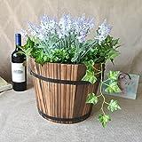 wenjuersty Macetas redondas de madera retro maceta barril jardín decoración al aire libre