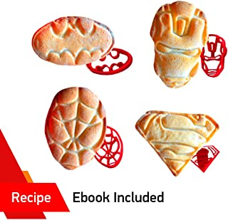 SUPERHERO COOKIE CUTTERS by WNF Craft - For Extra Fun Baking – Includes Iron Man Superman Spider-man Batman molds. Safe and Plastic. Perfect for Making Cookies, Mini Sandwiches, Shapped Cheese