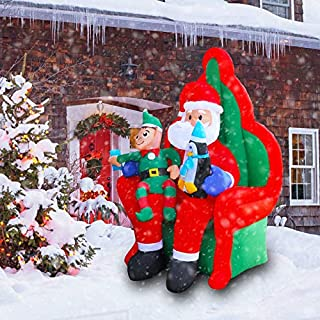 Megaction 6 Foot Christmas Inflatable Sitting Santa with Elf and Penguin- Yard, Home Party Blow Up Decoration
