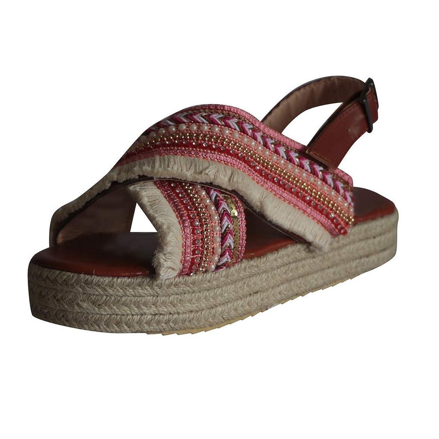Women's Casual Espadrilles Cross Strap Beach Multi Color Woven Beach Walk Shoes Peep Toe Flat Sandals JHKUNO