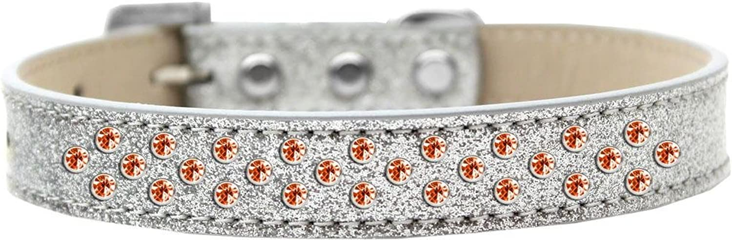 Mirage Pet Products Sprinkles Ice Cream Dog Collar with orange Crystals, Size 20, Silver