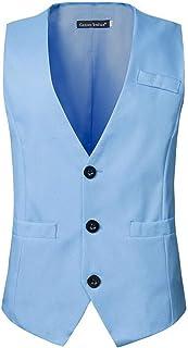 MU2M Men Business Sleeveless V-Neck Single Breasted Suit Vest Waistcoat