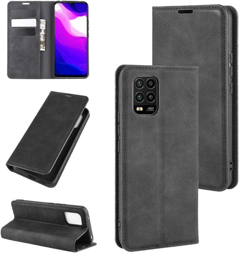 ROVLAK Funda para Xiaomi Mi 10 Lite 5G Case Flip Cover Cartera con Ranura para Tarjetas Estuche de Cuero PU+Interior de Silicona TPU Case con Soporte Carassa para Xiaomi Mi 10 Lite 5G Smartphone,Negro