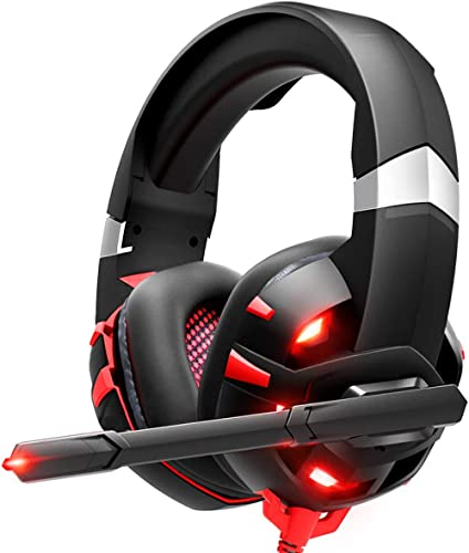 RUNMUS Gaming Headset Xbox One Headset with 7.1 Surround Sound, PS4 Headset with Noise Canceling Mic & LED Light, Com...