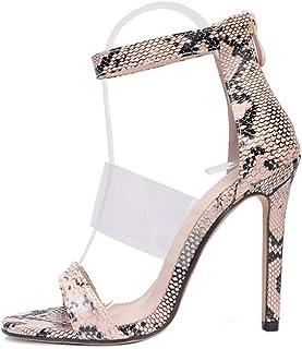 c3506c40 XU-XINGFU Bandas triples Sandalias para Mujer Tobillo Estilete Volver  Cremallera Zapatos de Cuero sintético