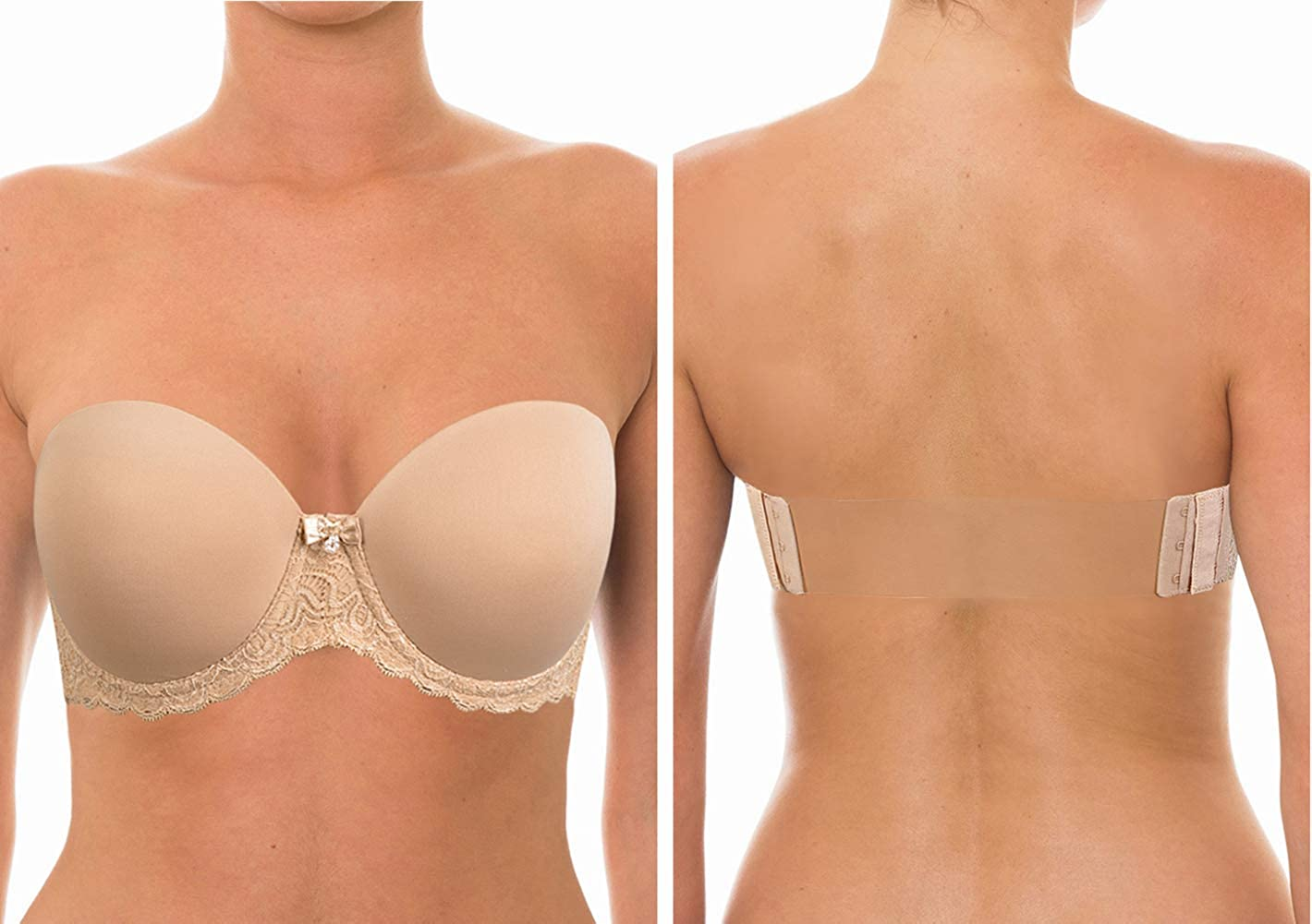 YANDW Strapless Lightly Padded Full Figured Coverage Bra Clear Back Multiway Invisible Straps Backless Brassiere for Women