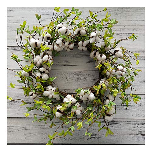 """Cotton Wreath - 22"""" Farmhouse Natural Round Cotton Boll Wreath Rustic Floral with Artificial Green Leaves for Wall or Desk Wedding Centerpiece Welcome Decor"""