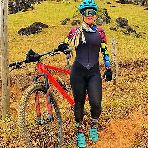Frauen Radfahren Jersey Triathlon Jumpsuit Fahrrad Jersey Sets Langarmhose MTB Sport tragen dicht dünnes Haftanzug (Color : 135, Size : L)