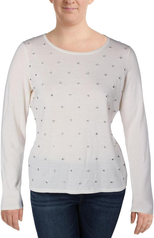 Elie Tahari Womens Miranda Knit Embellished Crewneck Sweater
