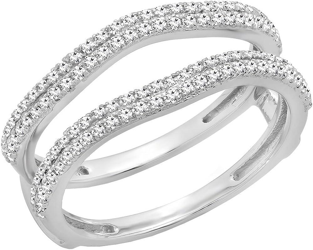 Dazzlingrock Collection 0.48 Carat (ctw) 18K Gold Round White Diamond Ladies Wedding Enhancer Double Ring 1/2 CT