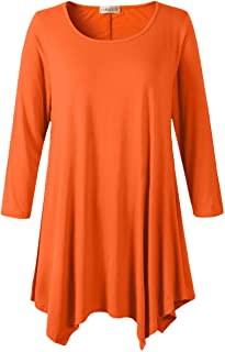 190e02ee6460b LARACE Women Plus Size 3 4 Sleeve Tunic Tops Loose Basic Shirt