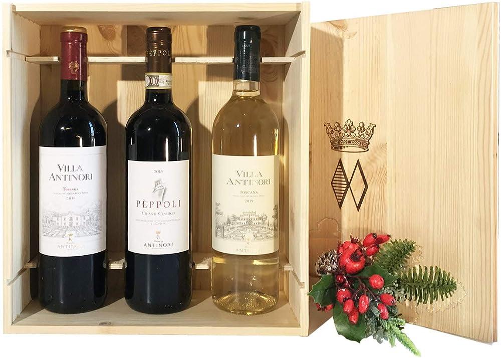 Wine gift baskets,vini pregiati antinori dalla toscana in cassetta legno originale 435