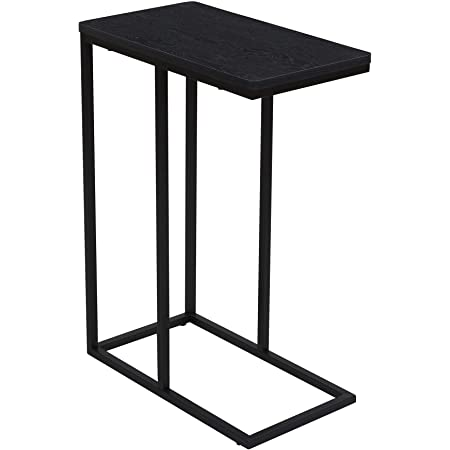 Household Essentials Industrial Narrow End Table   Metal C Shaped Frame and Rectangle Faux Top, Black Wood Grain
