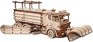 EWA Eco-Wood-Art 3D Wooden Puzzle for Adults and Teens - Mechanical Snowtruck - Model with Rubber Band Engine, DIY Kit for Self-Assembly, No Glue Required