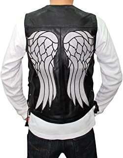 V Neck Leather Vest with Laces Wings Patch Back