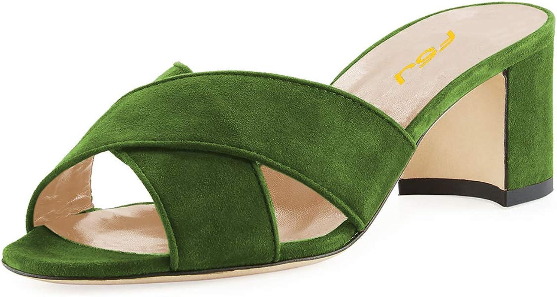 FSJ Women Peep Toe Mid Block Heel Slide Sandals Cross Strap Slip On Dress Slippers Size 4-15 US