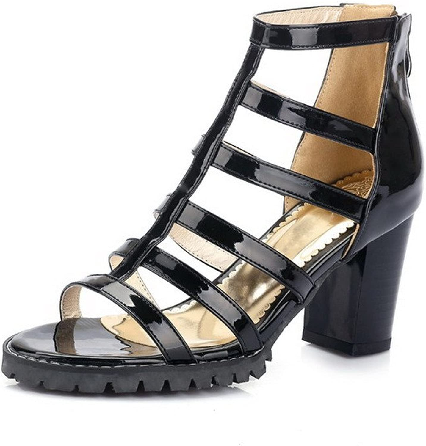 AmoonyFashion Women's Patent Leather Zipper Open Toe High-Heels Solid Heeled-Sandals