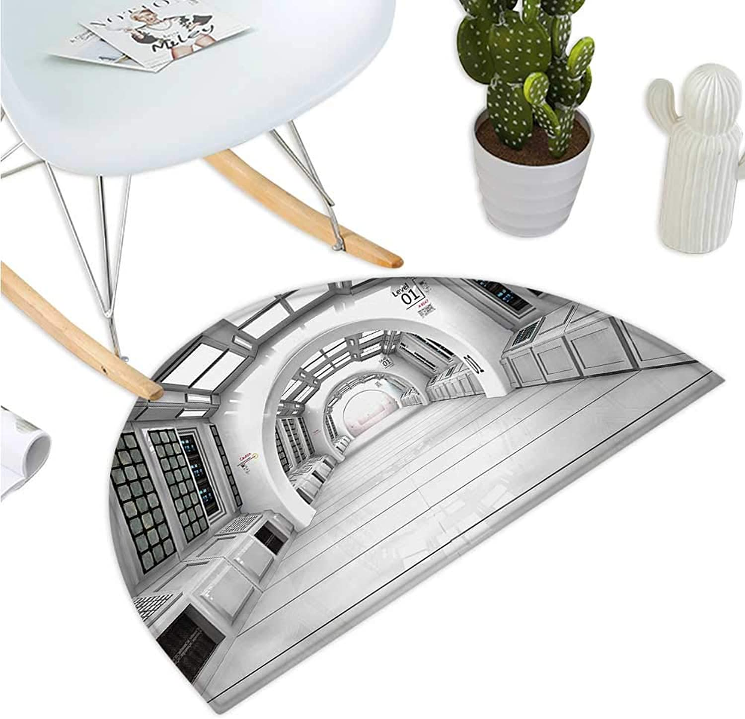 Outer Space Semicircular Cushion Spacelaunch View with Hypertech Energy Stellar Extra Solar Nuclear Trip Image Print Entry Door Mat H 43.3  xD 64.9  White